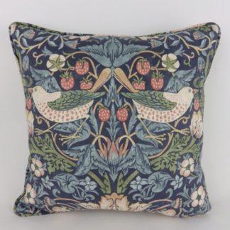 Blue Mineral Strawberry Thief William Morris Cushion