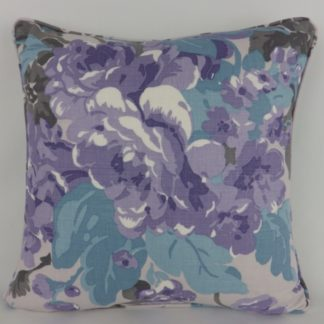 Lavender Peacock Blue Rose Floral Linen Cushion
