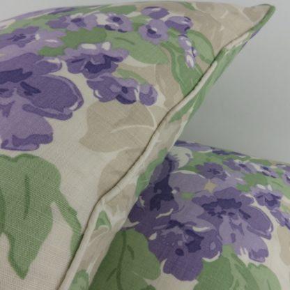 Lavender Green Rose Floral Linen Cushion
