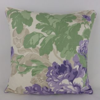 Lavender Green Rose Floral Linen Cushion