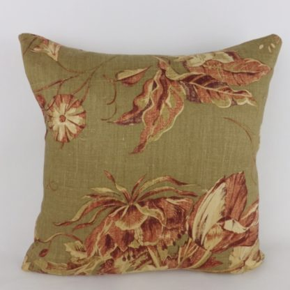 Rustic Vintage Patina Terracotta Brown Floral Cushions