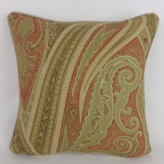 Natural Terracotta Green Paisley Linen Cushions