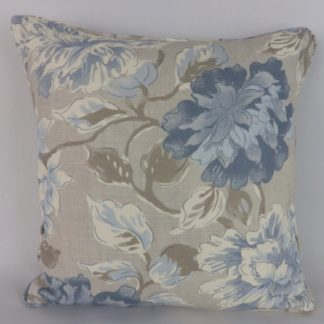 Blue Grey Floral Linen Cushions