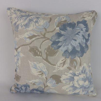 Blue Grey Floral Linen Cushions