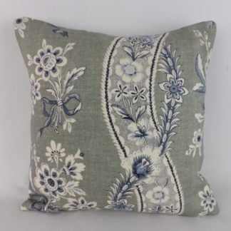 Indigo Blue Grey Floral Stripe Linen Cushion