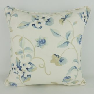 Sanderson Orchard Blossom China Blue Floral Cushion
