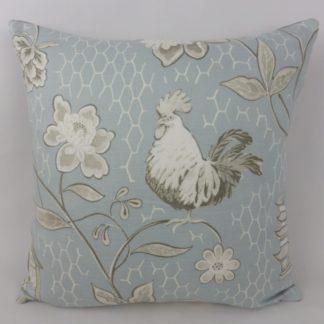 GP & J Baker Bantam Toile Duck Egg Blue Taupe Cushion