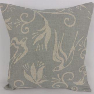 Blue Swallow Hirondelle Linen Cushion
