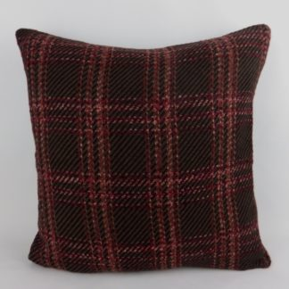 Pink Brown Wine Red Woven Check Wool Cushion