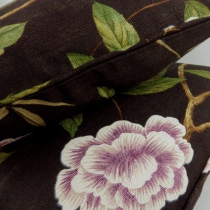 Colefax Fowler Pavilion Tree Dark Brown Floral Linen Cushions