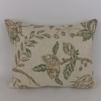 Green Natural Linen Leaf Fabric Cushion