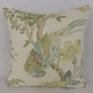 Soft Blue Green Cream Bird Cushion