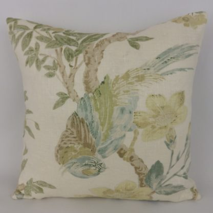Soft Blue Green Cream Bird Cushion