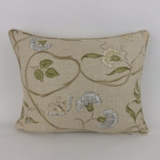 Natural Linen Blue Green Butterfly Floral Cushion