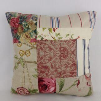 Vintage Floral Linen Ian Mankin Patchwork Cushion