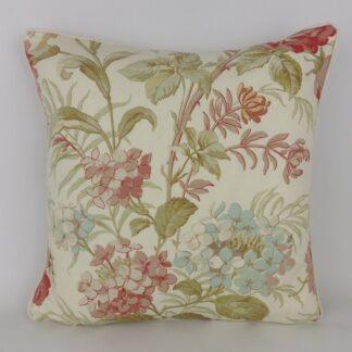 Pink Duck Egg Blue Hydrangea Floral Linen Fabric Cushions