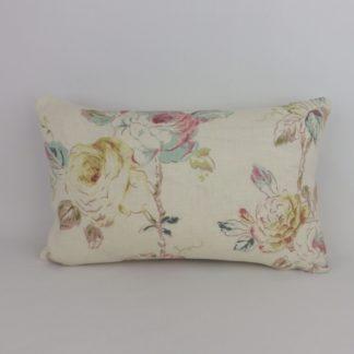Duck Egg Blue Pink Rose Floral Linen Lumbar Pillow Cushion