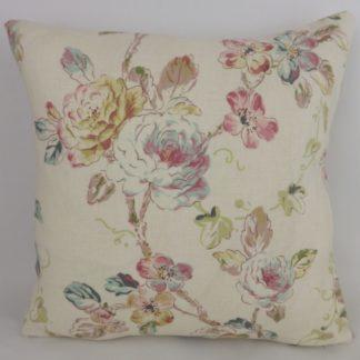 Duck Egg Blue Pink Rose Floral Linen Cushion
