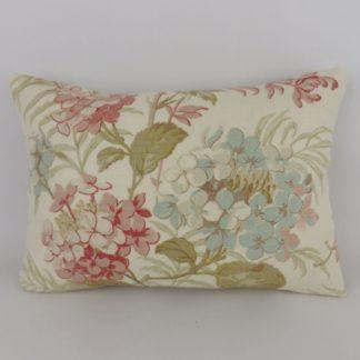 Pink Duck Egg Blue Hydrangea Floral Linen Cushions