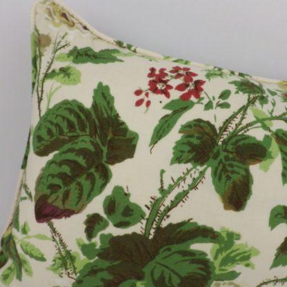 Vintage Rose Floral Green Aubergine Velvet Lumbar Cushion