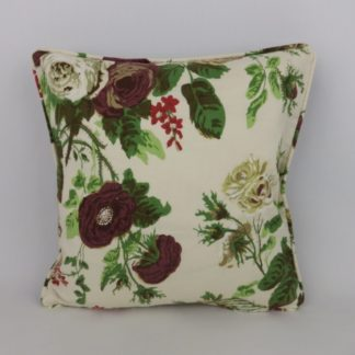 Vintage Rose Floral Green Aubergine Velvet Cushion