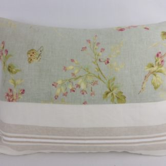 Floral Duck Egg Blue Grey Raspberry Red Patchwork Cushion