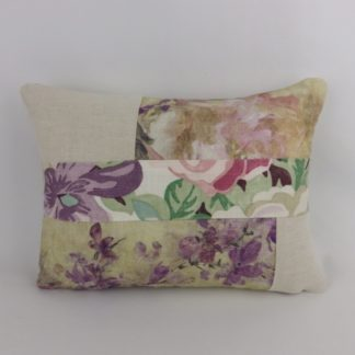 Floral Purple Pink Linen Patchwork Cushion