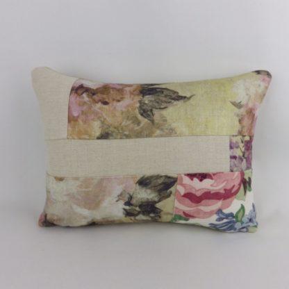 Floral Purple Pink Linen Patchwork Cushion