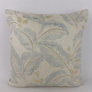 Soft Blue Leaf Block Print Cushion