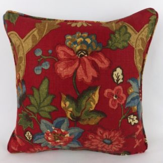 Lee Jofa Kirby Crimson Red Linen Cushions