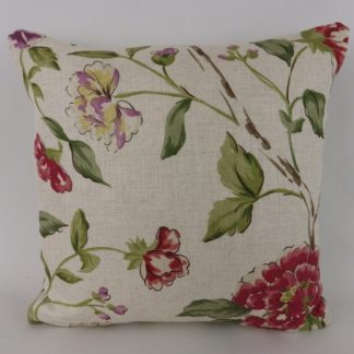 Sanderson Sissinghurst Moss Strawberry Floral Cushion