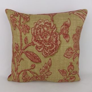 Red Natural Floral Toile Linen Cushions