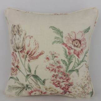 Strawberry Red Vintage Country Floral Sanderson Tournier Linen Cushion