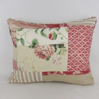 Vintage Floral Red Natural Linen Patchwork Cushion