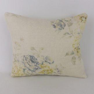 Vintage Blue Yellow Rose Floral Sanderson Weybridge Lumbar Cushion