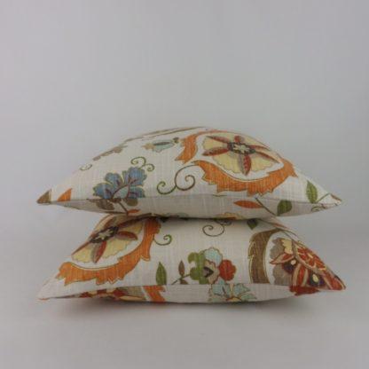 Montmartre Lee Jofa Orange Stylised Floral Cushions