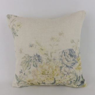 Vintage Blue Yellow Rose Floral Sanderson Weybridge Cushion