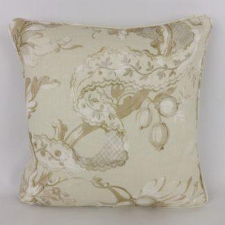 Cream Taupe Fruit Leaf Linen Fabric Cushion