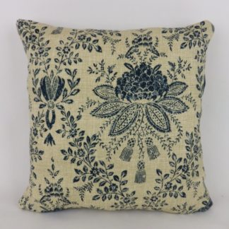 Linwood Dittisham Harbour Blue Indigo Natural Floral Cushions