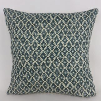 Linwood Ashfield Harbour Blue Woodblock Pattern Cushion