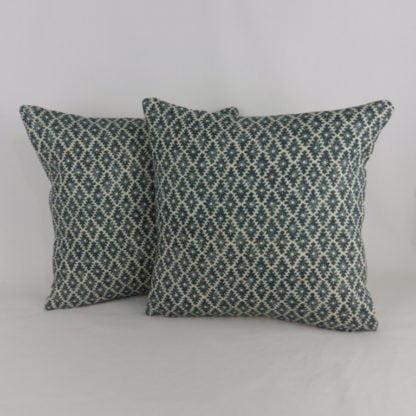 Linwood Ashfield Harbour Blue Woodblock Pattern Cushion
