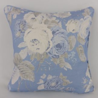 Blue Grey Country Rose Floral Linen Cushions