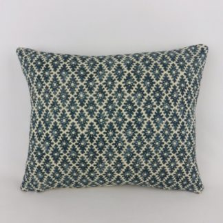 Linwood Ashfield Harbour Blue Woodblock Pattern Lumbar Cushion