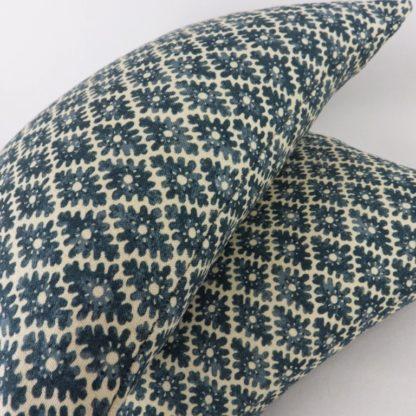 Linwood Ashfield Harbour Blue Woodblock Pattern Lumbar Cushion