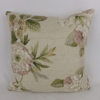 Peony Rose Floral Natural Linen Cushions
