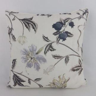 Grey Black Floral Linen Cushions