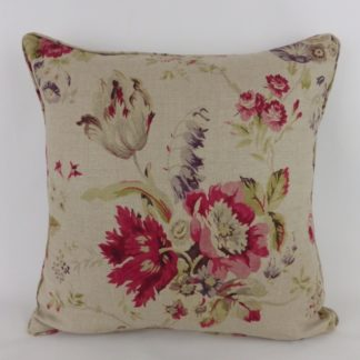 Cerise Pink Natural Linen Country Rose Floral Large Cushion