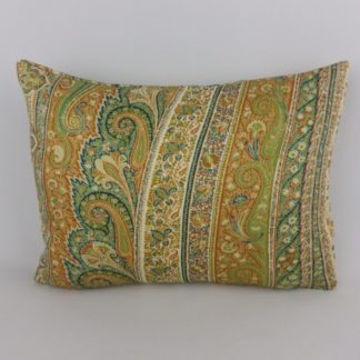 Green Orange Paisley 100% Wool Cushion