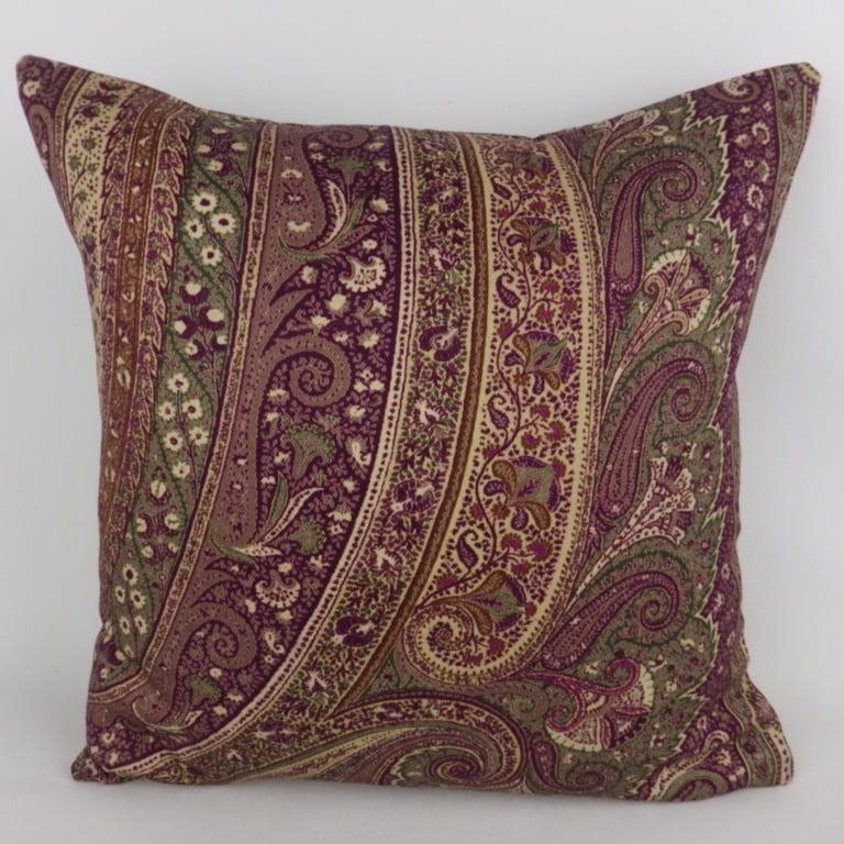 Purple Green Paisley 100% Wool Cushion - Kimberley Dawn Cushions