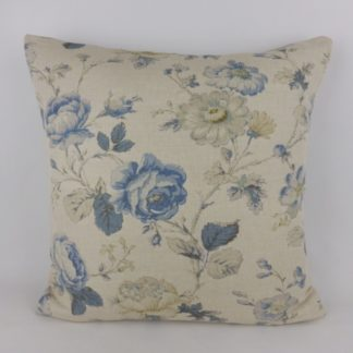 Natural Linen Blue Country Floral Rose Large Cushion